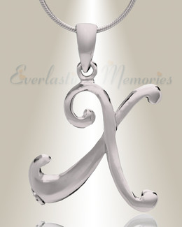 """Silver """"X"""" Initial Cremation Jewelry"""