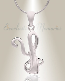 "Silver ""Y"" Initial Cremation Jewelry"