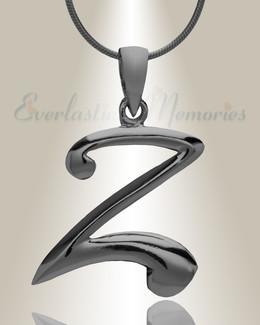 "Black ""Z"" Initial Cremation Jewelry"