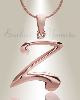 """Rose Gold """"Z"""" Initial Cremation Jewelry"""
