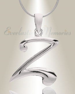 """Silver """"Z"""" Initial Cremation Jewelry"""