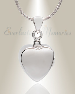Silver Simple Heart Cremation Jewelry