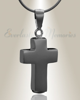 Black Faithful Cross  Cremation Jewelry