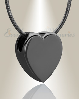 Black Smooth Heart Cremation Jewelry