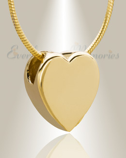 Gold Plated Smooth Heart Cremation Jewelry