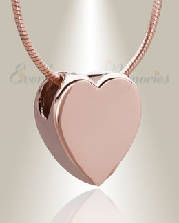Rose Gold Smooth Heart Cremation Jewelry