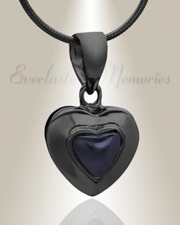Black Fallen Heart Cremation Jewelry