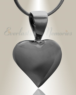 Black Caring Heart Cremation Jewelry