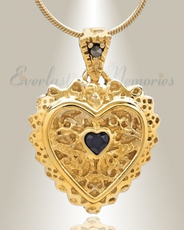 Gold Plated Sophisticate Heart Cremation Jewelry