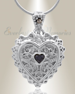 Silver Sophisticate Heart Cremation Jewelry