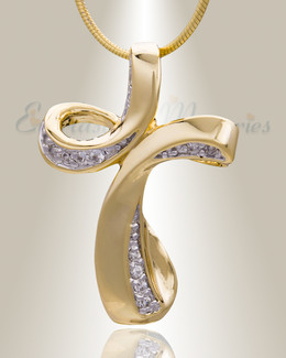 Gold Plated Forever Cross Cremation Jewelry