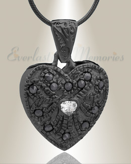 Black Jester Heart Cremation Jewelry
