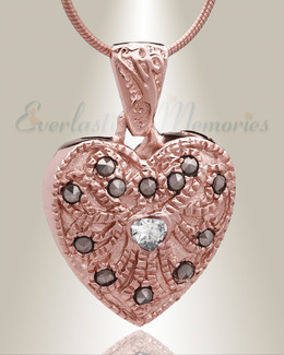 Rose Gold Jester Heart Cremation Jewelry