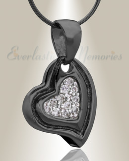 Black Delighted Heart Cremation Jewelry