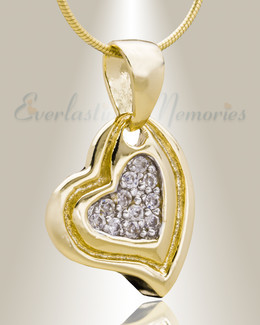 Gold Plated Delighted Heart Cremation Jewelry