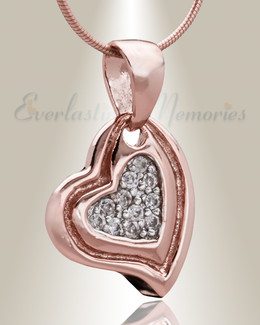 Rose Gold Delighted Heart Cremation Jewelry