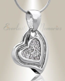 Silver Delighted Heart Cremation Jewelry