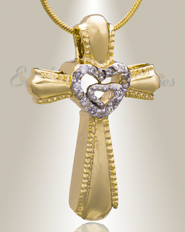 Gold Plated Always Cross Cremation Jewelry