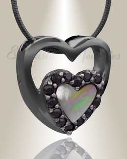 Black Together Heart Cremation Jewelry
