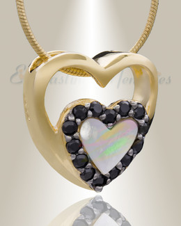 Gold Plated Together Heart Cremation Jewelry
