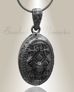 Black Eternal Round Cremation Jewelry