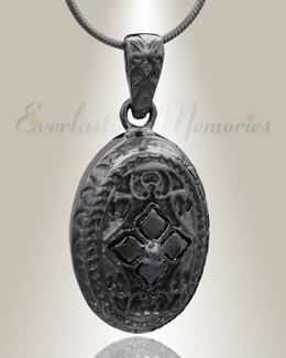 Black Eternal Round Cremation Jewelry