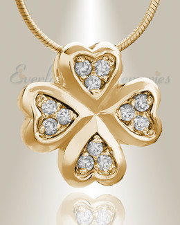 Gold Plated Clovers Cremation Jewelry