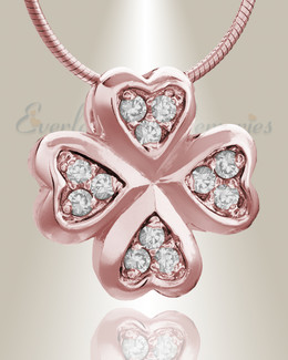 Rose Gold Clovers Cremation Jewelry
