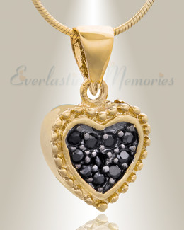 Gold Plated Merry Heart Cremation Jewelry