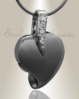 Black Heavenly Heart Cremation Jewelry