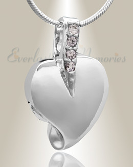 Silver Heavenly Heart Cremation Jewelry