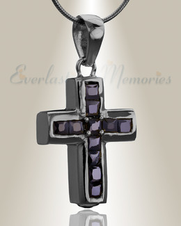 Black Stoic Cross Cremation Jewelry