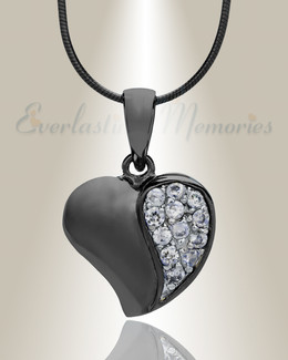 Black Cordial Heart Cremation Jewelry