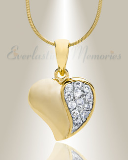 Gold Plated Cordial Heart Cremation Jewelry