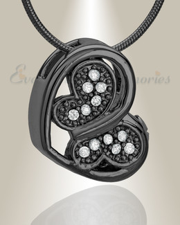 Black Spring Heart Cremation Jewelry