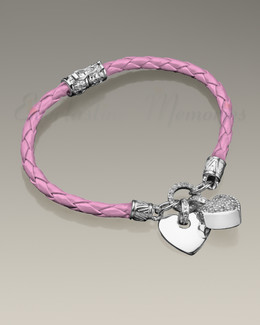 Silver Plated with Pink Forever Bracelet Cremation Jewelry