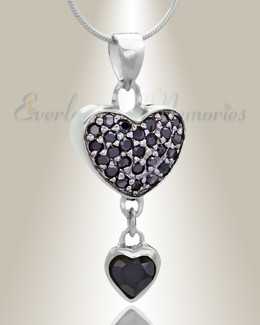 Silver Falling Heart Cremation Jewelry