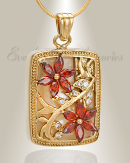 Gold Plated In Bloom Cremation Jewelry