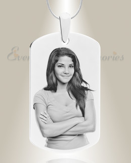Large Dog Tag Photo Engraved Stainless Keepsake