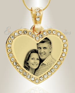 Gem Heart Photo Engraved Gold Plated over Stainless Keepsake