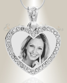 Gem Heart Photo Engraved Stainless Keepsake