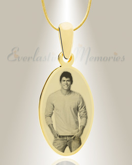 Oval Photo Engraved Gold Plated over Stainless Keepsake