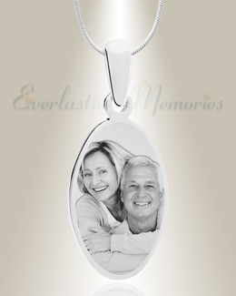 Oval Photo Engraved Stainless Keepsake