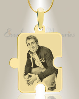 Large Puzzle Piece Photo Engraved Gold Plated Keepsake