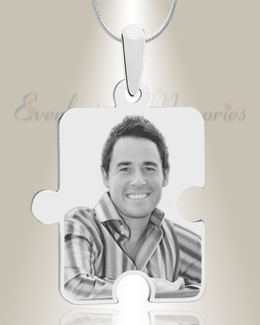 Large Puzzle Piece Photo Engraved Silver Keepsake