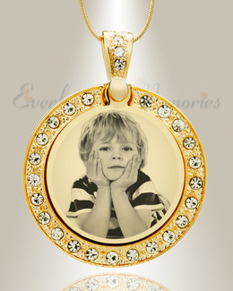 Gem Circle Photo Engraved Gold Plated over Stainless Keepsake