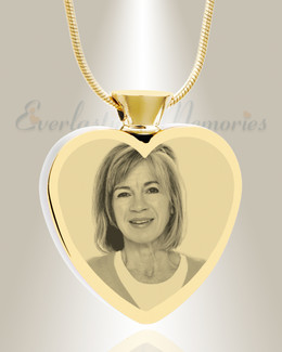 Heart Gold Plated Photo Engraved Ash Pendant