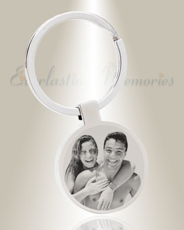 Round Photo Engraved Stainless Steel Keychain