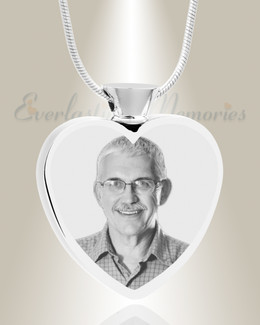 Heart Stainless Steel Picture Engraved Ash Pendant
