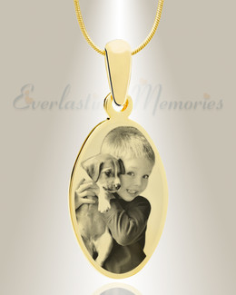 Oval Photo Engraved Gold Plated over Stainless Pet Keepsake